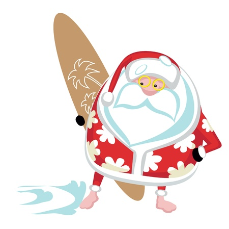 cartoon surfing: Cartoon  Santa surfer Separate layers