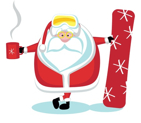 deltaplane: Cartoon Santa snowboarding with tea cup  Separate layers