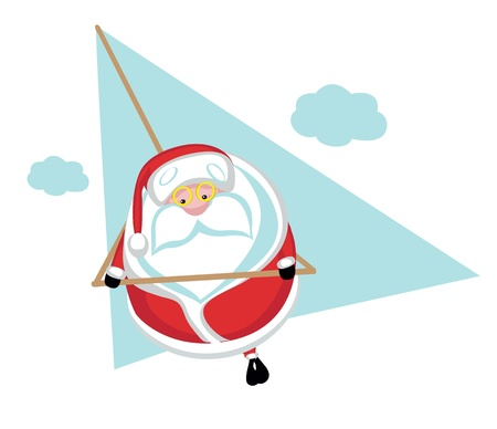 deltaplane: Cartoon  Santa  flying on hang glider  Separate layers