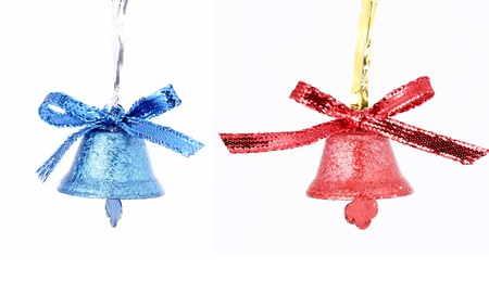 Vintage Christmas red and blue bells isolated on white background photo