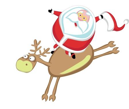 Funny cartoon Santa riding a reindeer Vector