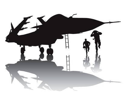 fighter pilot: Military aircraft and running pilots silhouette with reflection