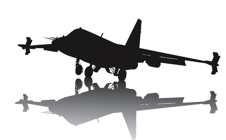 aircraft carrier: Landing Milit�rflugzeuge Silhouette mit Reflektion