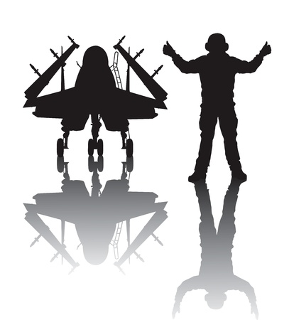 military silhouettes: Naval  aircraft and crewman vector silhouette with reflection