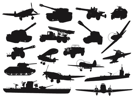 a cannon: High detailed World War 2 military silhouettes set  Vector