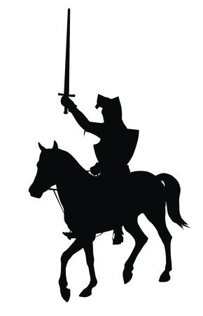 silhouette soldat: Chevalier avec �p�e � cheval sur la silhouette vecteur d�taill�e cheval