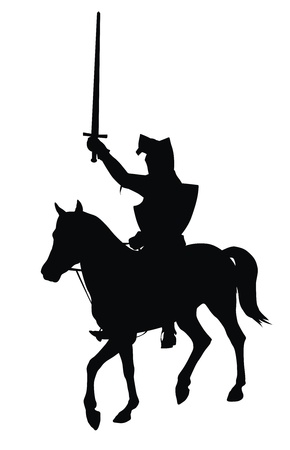 crusades: Knight with sword riding on horseback detailed vector silhouette
