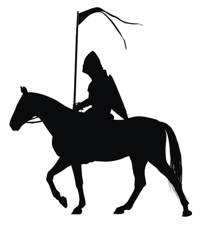 Medieval knight with flag on horseback detailed vector silhouette