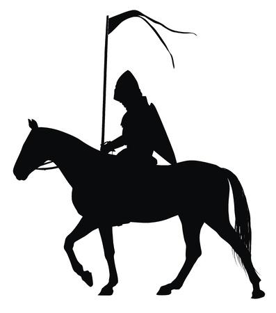 chevalerie: Chevalier m�di�val avec le drapeau sur la silhouette vecteur d�taill�e cheval