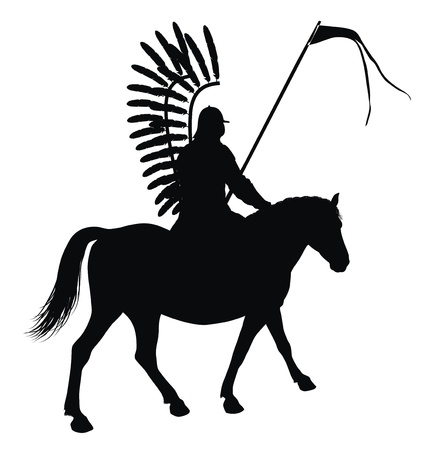Medieval warrior with flag on horseback detailed vector silhouette  Hussar Vector