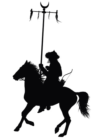Medieval oriental warrior on horseback detailed vector silhouette
