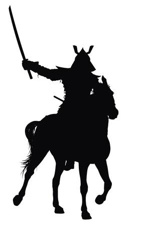 guerrero samurai: Samurai con espada en silueta vector detallada caballo