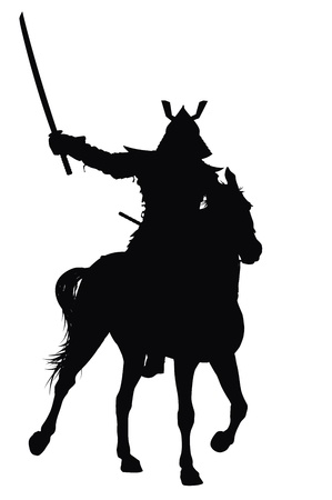 castle silhouette: Samurai with sword on horseback detailed vector silhouette