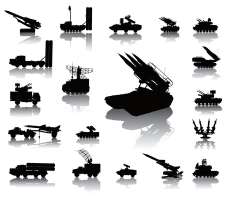 the air attack: Anti-aircraft warfare silhouettes set  Vector on separate layers Illustration