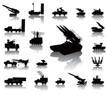 tanque de guerra: Aviones de guerra contra siluetas vector set en capas separadas