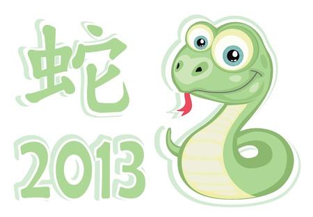 snake year: Vector chico serpiente y el jerogl�fico chino 2013 a�os del dise�o de serpiente