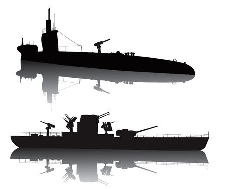 submarino: WW2 nave submarina y militar silueta vector con la reflexión Vectores