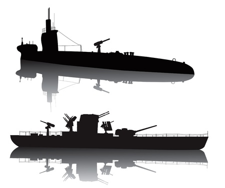 navy ship: WW2 submarine and military ship vector silhouette with reflection