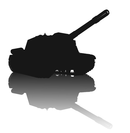 transportation silhouette: WW2 tank vector silhouette with reflection