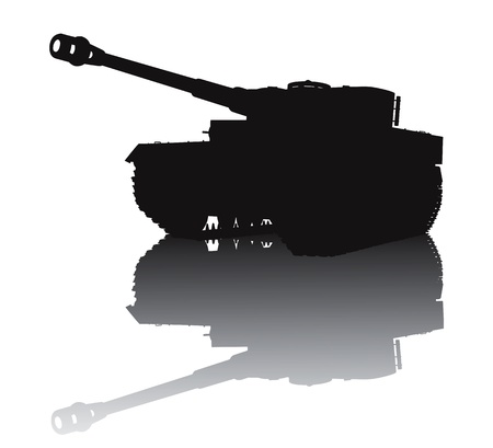 america soldiers: WW2 tank vector silhouette with reflection