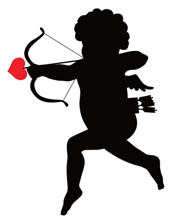 st valentin: Amour with bow and arrow silhouette