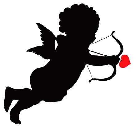Cute cupid  silhouette Vector