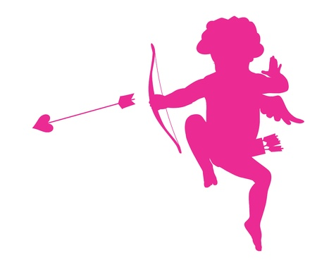 Shooting cupid silhouette Vector