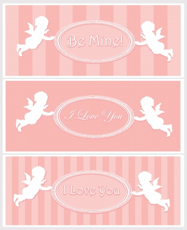 amore: Set of Valentine cards with cupids and copy space  Separate layers