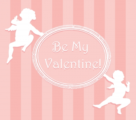 Valentine card with cupids and copy space  Separate layers Vector