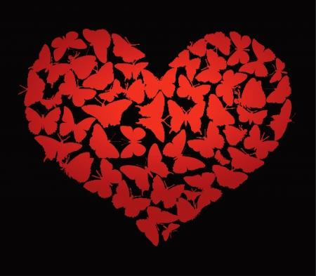 romanticist: Heart made of  butterflies on black  Valentine s Day design