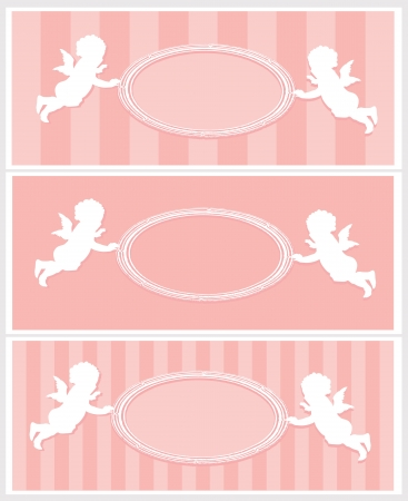 Set of Valentine cards with cupids and copy space  Separate layers Vector