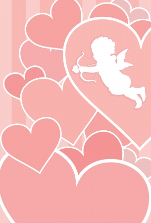 be mine: Valentine card with cupid, hearts and copy space  Separate layers