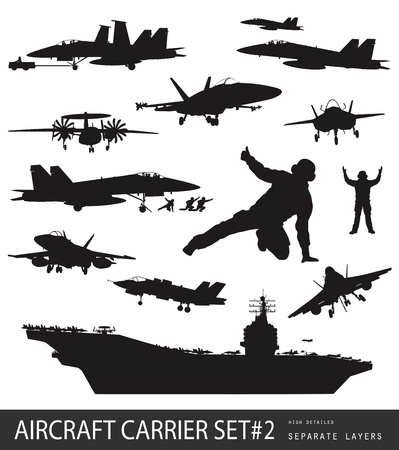 military silhouettes: Aircraft carrier and naval aircrafts high detailed silhouettes