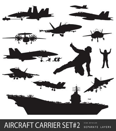 navy ship: Portaaviones y aeronaves navales altas siluetas detalladas Vectores
