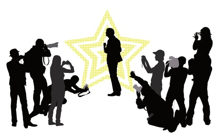 Group of people with camera and celebrity  silhouettes  イラスト・ベクター素材