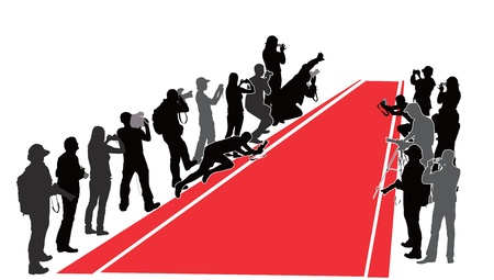 Group of people with camera near  red carpet  silhouettes Vector