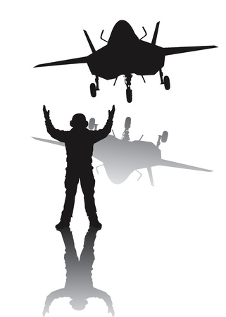 modern fighter: Stealth plane and aircraft carrier crewman  Vector silhouettes with reflection