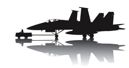 f 18: Naval aircraft transporting  Vector silhouette with reflection Illustration