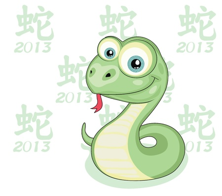 Funny cartoon snake isolated  2013 Snake Year design Stock Vector - 17830964