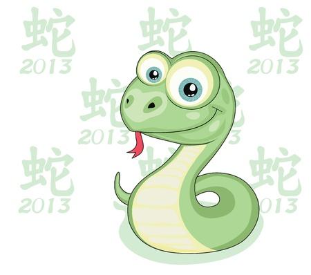 snake year: Serpiente de dibujos animados divertido aislado dise�o 2013 A�o Serpiente