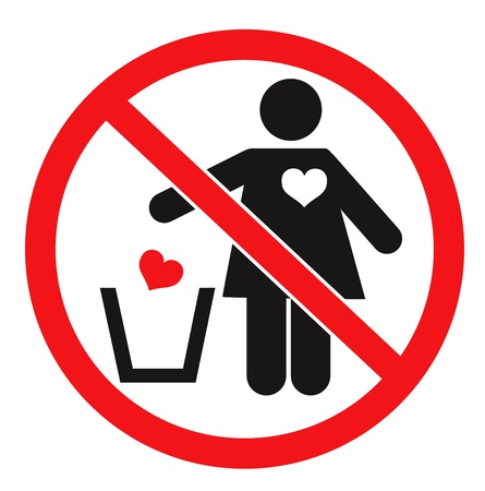 Forbidden sign and woman throwing her heart away. Vector icon Stock Vector - 17830970