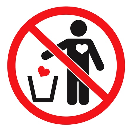 confession: Forbidden sign and man throwing his heart away. Vector icon