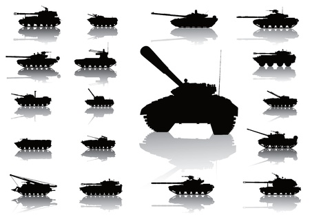 Tanks detailed silhouettes set  on separate layers Vector