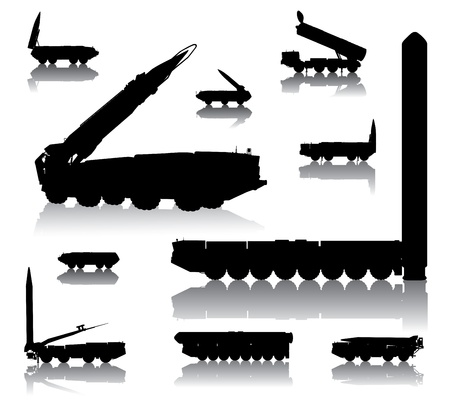 Missile launcher  silhouettes set  photo