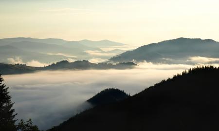 Volley brumeux dans les montagnes des Carpates photo