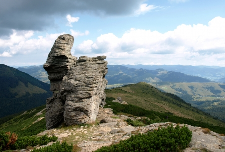 Stones on mountains background  photo