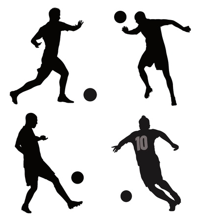 Soccer players detailed vector silhouettes set  Sports design Stock Vector - 18048382