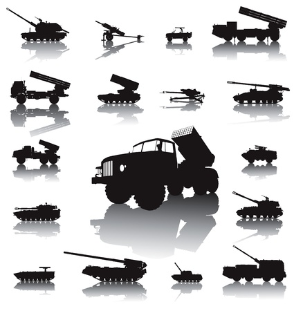 cold war: Howitzer and rocket artillery silhouettes set  Vector on separate layers