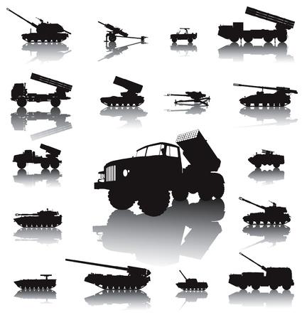artillery shell: Siluetas ob�s de artiller�a y cohetes conjunto de vectores en capas separadas