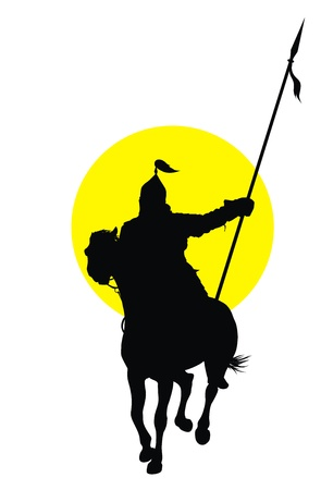 mongolia: Medieval oriental warrior on horseback detailed vector silhouette